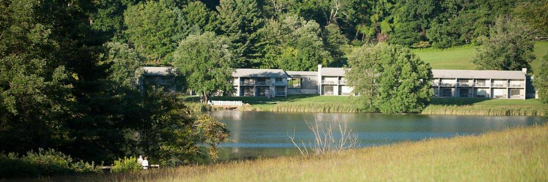 Couple Looking At Rooms Across Abbott Lake - Peaks of Otter Lodge