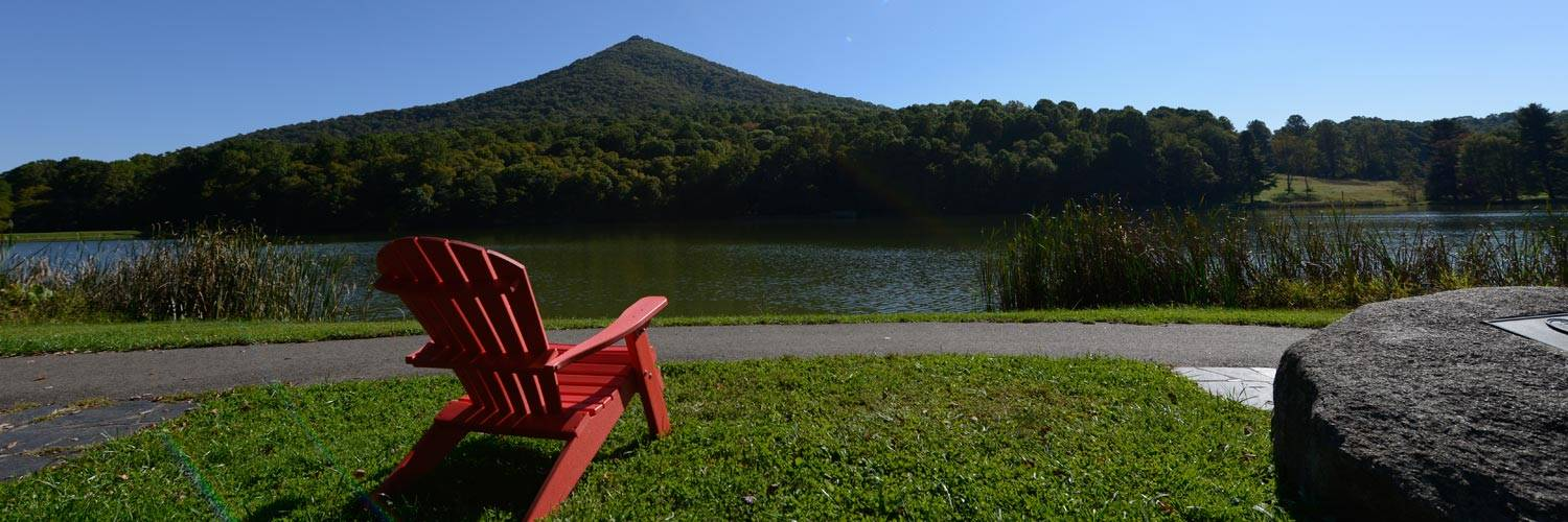 Red Adirondack Chair With View of Sharp Top Mountain - Peaks of Otter Ldoge