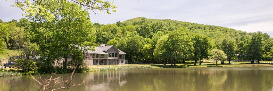 Lodge and Surrounding Landscape Overlooking Lake