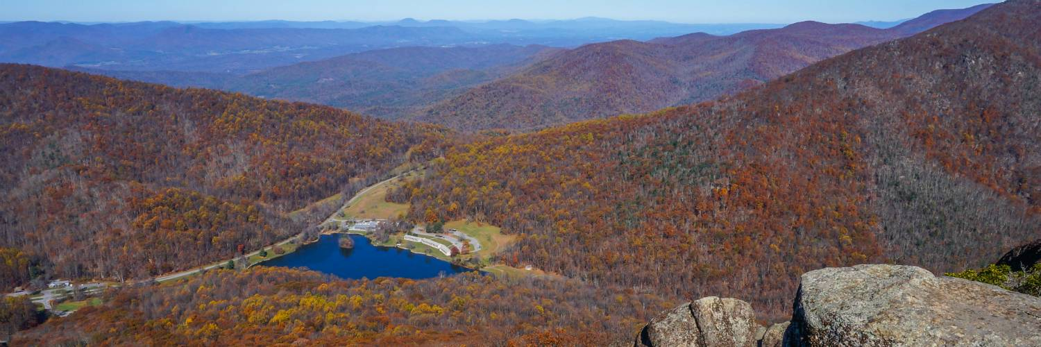 Peaks of Otter Lodge from Sharp Top Mountain in Fall