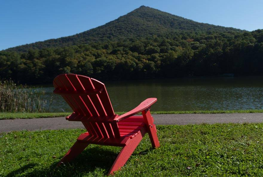 Adirondack Chair Beside Abbott Lake at Peaks of Otter Lodge