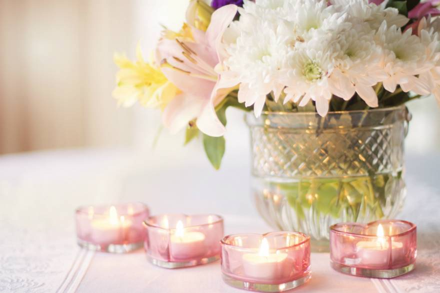 Candles and Vase of Flowers